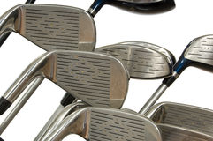 Clubs de golf en blanco imagen de archivo