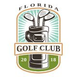 Clubs de golf en logotipo del bolso Fotos de archivo libres de regalías
