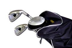Clubs de golf en un bolso imágenes de archivo libres de regalías