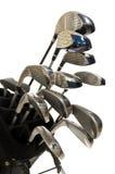 Clubs de golf sur le blanc images libres de droits