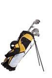 Clubs de golf y bolso en blanco Imagen de archivo libre de regalías