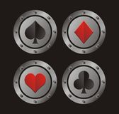 Clubs, hearts, spades, diamonds with circle medal Stock Photo