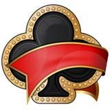 Clubs. icônes de costume de carte avec le ruban illustration de vecteur