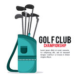 Clubs icon. Golf sport design. Vector graphic. Gold sport concept represented by clubs icon. Colorfull and flat illustration Royalty Free Stock Images