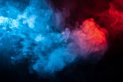 Clubs of isolated colored smoke: blue, red, orange, pink; scroll stock photos
