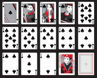 Clubs Playing Cards. Set of playing cards in clubs including joker Royalty Free Stock Images