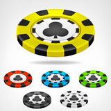 Clubs poker chip isometric set 3D object  Stock Photography