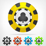 Clubs poker chip set 3D object  Stock Images