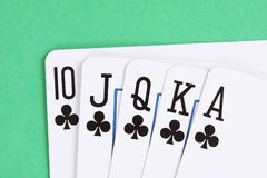 Clubs poker royal flush Stock Image