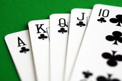 Clubs royal flush Stock Photography