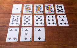 Clubs Set of playing cards Stock Images