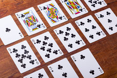 Clubs Set of playing cards Stock Image