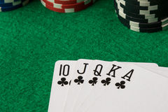 Clubs straight flush Royalty Free Stock Image