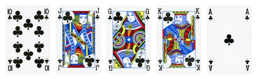 Clubs Suit Playing Cards royalty free stock image