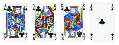 Clubs Suit Playing Cards, Set include King, Queen, Jack and Ace royalty free illustration
