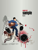 Clubsound party. The guy plays on a guitar in club. The girl dances .Vector illustration Stock Image