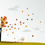 Cludy autumn background with leaves Royalty Free Stock Image