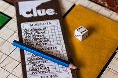 Clue 1972 - The check list of the game. With a die royalty free stock photo