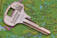 Clue to the Russian soul and the Russian concept. Key to the symbols of Russia located on the map of Russia Royalty Free Stock Photos