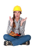 A clueless construction worker. Stock Image