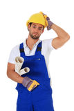 Clueless manual worker Royalty Free Stock Photo
