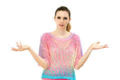 Clueless young woman Stock Images
