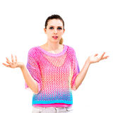 Clueless young woman Royalty Free Stock Images