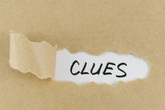 Clues word Stock Photo