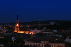 Cluj cityscape at the blue hour Royalty Free Stock Image