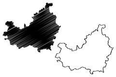 Cluj County klottrar administrativa uppdelningar av Rum?nien, illustration f?r vektor f?r ?versikt f?r Nord-v?st utvecklingsregio stock illustrationer