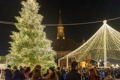 CLUJ-NAPOCA, РУМЫНИЯ - 23-ЬЕ НОЯБРЯ 2018: Рождественская ярмарка в квадрате Unirii, Трансильвания, Румыния стоковое фото
