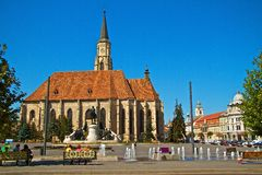 Cluj-Napoca. The union square in center of Cluj-Napoca city Royalty Free Stock Image