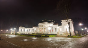 Cluj-Napoca Central Park Casino. On an autumn night scene with lights all over and a beautiful clean wet look in the European Youth Capital 205 and the heart of stock photos