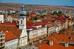 Cluj-Napoca city. A main street in Cluj-Napoca city, Romania Stock Photo
