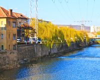 Cluj-Napoca city. Somes river in the middle of Cluj-Napoca city, Romania Stock Images