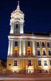 Cluj-Napoca City Hall, nighttime view. Palace of the Cluj-Napoca City Hall, built according to the plans of 19-th century architect Alpar Ignac. Shot at the blue stock images