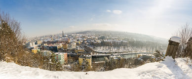 Cluj-Napoca city in Transylvania region of Romania cityscape pan. Panoramic view of Cluj Napoca city the capital of Transylvania region of Romania on a winter royalty free stock images