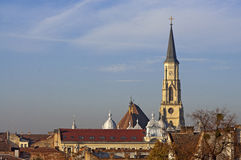 Cluj-Napoca cityscape. Cluj-Napoca, Cluj county in Transylvania, Romania, cityscape with St. Michael's Church's Tower Royalty Free Stock Images