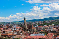 Cluj Napoca Cityscape. A view over the city of Cluj Napoca, Romania from a nearby hill. In the center, Saint Michael's Church Royalty Free Stock Photos