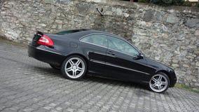 Cluj Napoca, kwiecień 7/, 2017: Mercedez Benz W209 Coupe - rok 2005, eleganci wyposażenie, Czarny kruszcowy, 19 calowych aliaży k Zdjęcia Stock