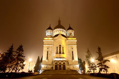 Cluj Napoca Orthodox Cathedral by night. Front view of the Orthodox Cathedral in Cluj Napoca, Romania - November 2012 royalty free stock image