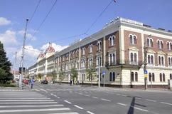 Cluj-Napoca RO, 24 September: De Bouw van het financiënpaleis in cluj-Napoca van het gebied van Transsylvanië in Roemenië Stock Afbeelding