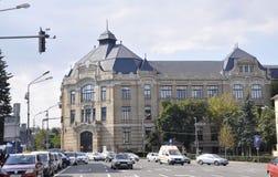 Cluj-Napoca RO, 24 September: De centrale Universitaire Bibliotheekbouw in cluj-Napoca van het gebied van Transsylvanië in Roemen Stock Fotografie
