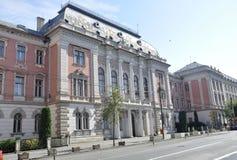 Cluj-Napoca RO, 24 September: De Hof van Justitie bouw in cluj-Napoca van het gebied van Transsylvanië in Roemenië Royalty-vrije Stock Fotografie