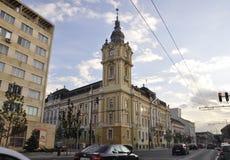 Cluj-Napoca RO, 24 September: Hall Building Tower in cluj-Napoca van het gebied van Transsylvanië in Roemenië Royalty-vrije Stock Foto