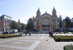Cluj-Napoca RO, 24 September: Nationaal Theater Lucian Blaga in cluj-Napoca van het gebied van Transsylvanië in Roemenië Stock Foto's