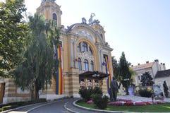 Cluj-Napoca RO, 24 September: Nationaal Theater Lucian Blaga in cluj-Napoca van het gebied van Transsylvanië in Roemenië Royalty-vrije Stock Afbeeldingen