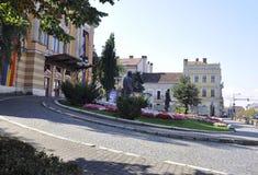 Cluj-Napoca RO, 24 September: Nationaal Theater Lucian Blaga in cluj-Napoca van het gebied van Transsylvanië in Roemenië Royalty-vrije Stock Foto