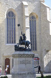 Cluj-Napoca RO, September 23th: St George Statue front of Reformed Church in Cluj-Napoca from Transylvania region in Romania. St George Statue front of Reformed Royalty Free Stock Images