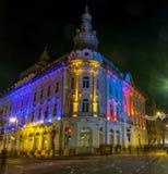Cluj-NAPOCA, ROEMENIË - December 1, 2018: Mooie zonsondergang in cluj-Napoca, Roemenië: New York of Continentaal Hotel in cluj-Na stock afbeeldingen